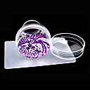 cheap Nail Stamping-new design 4cm clear jelly silicone nail art stamper scraper with cap polish print stamp stamping tools