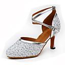 cheap Modern Shoes-Women's Modern Shoes Glitter / PU Heel Buckle / Splicing Customizable Dance Shoes Gold / Silver / Blue / Indoor