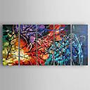 tanie Obrazy olejne-Hang-Malowane obraz olejny Ręcznie malowane - Abstrakcja Nowoczesny Brezentowy / Pięć paneli / Rozciągnięte płótno