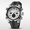 baratos Relógios Militares-WEIDE Homens Relógio de Pulso Alarme / Calendário / Cronógrafo Borracha Banda Luxo Preta / Aço Inoxidável / Impermeável / LCD / Dois Fusos Horários / Dois anos