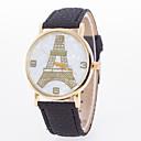 baratos Relógios da Moda-Mulheres Relógio de Moda Venda imperdível Couro Banda Torre Eiffel Preta / Branco / Azul