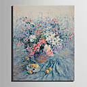 preiswerte Wand-Sticker-Hang-Ölgemälde Handgemalte - Blumenmuster / Botanisch Europäischer Stil Segeltuch