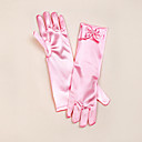 cheap Party Gloves-Satin Opera Length Glove Flower Girl Gloves With Bowknot