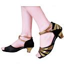 baratos Perucas de Cabelo Humano Sem Touca-Mulheres Sapatos de Dança Latina Glitter / Cetim Sandália Presilha Salto Personalizado Personalizável Sapatos de Dança Preto / Vermelho /