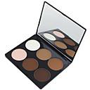 abordables blush-6 couleurs Poudres Poudre Bronzeurs 1 pcs Sec / Mélange / Huileux Etanche / Respirable / Blanchiment Visage Chine Miroir Maquillage Cosmétique