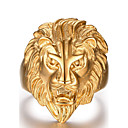 cheap Men's Rings-Men's Statement Ring - Stainless Steel Lion, Animal Fashion Golden For Christmas Gifts / Daily / Casual