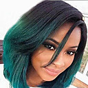 cheap Synthetic Capless Wigs-Synthetic Wig Women's Straight Green Synthetic Hair Green Wig Short Capless Green