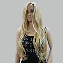 cheap Synthetic Capless Wigs-new fashion no bangs side skin part top women s golden blonde mix long curly wavy wig
