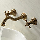 cheap Bathtub Faucets-Bathroom Sink Faucet - Widespread Antique Brass Wall Mounted Three Holes Two Handles Three Holes