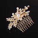 olcso Hajékszerek-ezüst / arany levél alakú kristály gyöngy haj fésűk násznép hölgy