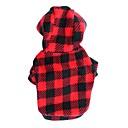 billige Hundetøj-Kat / Hund Hættetrøjer Hundetøj Prikker / Plæd / Tern Rose / Sort / Rød Polarfleece Kostume For kæledyr Herre / Dame Mode