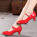 cheap Ballroom Shoes & Modern Dance Shoes-Women's Faux Leather Modern Shoes Sparkling Glitter / Buckle / Ruffles Sandal / Heel / Sneaker Cuban Heel Non Customizable Silver / Red / Golden / Indoor / Practice / EU41