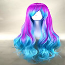 cheap Synthetic Capless Wigs-Synthetic Wig Wavy / Loose Wave With Bangs Synthetic Hair Wig Women's Capless Green Blue hairjoy