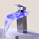 cheap Bathroom Sink Faucets-Bathroom Sink Faucet Single Handle faucet Color Changing LED Waterfall(Chrome Finish)