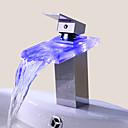 preiswerte Badarmaturen-Waschbecken Wasserhahn - Wasserfall Chrom Mittellage Ein Loch / Einhand Ein LochBath Taps / Messing