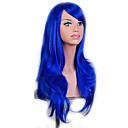 billige Kostymeparykk-Syntetiske parykker Naturlige bølger Syntetisk hår Blå Parykk Dame Lokkløs Blå