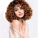 billige Syntetiske parykker uten hette-Syntetiske parykker Dame Krøllet Brun Syntetisk hår Afroamerikansk parykk Brun Parykk Medium Lengde Lokkløs Brun