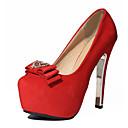 baratos Botas Femininas-Mulheres Sapatos Flanelado Verão Saltos Salto Agulha Laço Preto / Vermelho