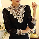 cheap Building Blocks-Women's Blouse - Patchwork Black & White Stand / Lace / Fall