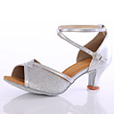 זול נעליים לטיניות-בגדי ריקוד נשים נעליים לטיניות נצנצים עקבים פאייטים עקב מותאם מותאם אישית נעלי ריקוד כחול / ורוד / מוזהב / בבית / עור