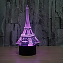 cheap Men's Necklaces-3D Fashion Romantic France Eiffel Tower LED Night Light RGB Changeable Mood Lamp Bedroom Table Lamp Kids Friends Family Gifts