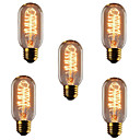 cheap LED Filament Bulbs-5pcs 40W E26 / E27 T45 Warm White 2300k Retro / Dimmable / Decorative Incandescent Vintage Edison Light Bulb 220-240V