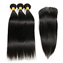 "cheap One Pack Hair-3Pcs 8""-26"" Peruvian Straight Remy Hair Weave Extensions with 1Pc 4""x4"" Lace Top Closure Virgin Hair"