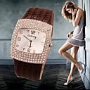 billige LED-lyspærer-Dame damer Armbåndsur Quartz 30 m Hverdagsklokke Imitasjon Diamant Lær Band Analog Sjarm Mote Simulert Diamond Watch Svart / Hvit / Sølv - Svart Brun Rød
