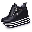 olcso Női sportcipő-Női Cipő PU Ősz Magassarkúak Gyalogló Ék sarkú Cipzár Fehér / Fekete / Piros