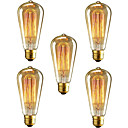 cheap Incandescent Bulbs-5pcs 40W E26 / E27 ST64 2300k Incandescent Vintage Edison Light Bulb 110-220V 220V 110V