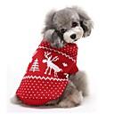 billige Pet juledragter-Kat Hund Bluser Hundetøj Rensdyr Rød Blå Bomuld Kostume For kæledyr Herre Dame Hold Varm Jul