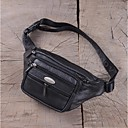 cheap Wallets-Men's Bags Cowhide Fanny Pack Zipper Black / Brown