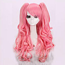 cheap Fishing Tools-Synthetic Wig / Cosplay & Costume Wigs Curly / Deep Wave Pink Asymmetrical Haircut Synthetic Hair Natural Hairline Pink Wig Women's Long Capless