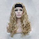 preiswerte Synthetische halbe Perücken-Synthetische Perücken Wellen Blond Synthetische Haare Blond Perücke Damen Kappenlos