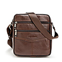 cheap Shoulder Bags-Men's Bags Cowhide Crossbody Bag Zipper Black / Coffee