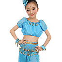 cheap Kids' Dancewear-Belly Dance Outfits Women's Performance Polyester Chiffon Satin Gold Coin Short Sleeve Natural Top Pants Belt Bracelets Headwear