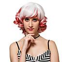 preiswerte Synthetische Perücken ohne Kappe-Synthetische Perücken Locken Synthetische Haare Weiß Perücke Damen Kurz Kappenlos Weiß