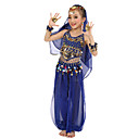 cheap Kids' Dancewear-Belly Dance Outfits Performance Polyester / Chiffon Satin Sequin / Gold Coin Sleeveless Natural Top / Pants / Headwear
