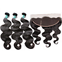 cheap One Pack Hair-brazilian virgin hair body wave 3 bundles unprocessed human hair weave with 1 pcs 13 4 ear to ear lace frontal closure
