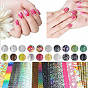 cheap Nail Stickers-20 sheet mix color transfer foil nail art flower design sticker decal for polish care diy nail art