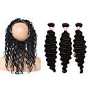 cheap Nail Stickers-Brazilian Hair 360 Frontal / Deep Wave Virgin Human Hair Hair Weft with Closure Human Hair Weaves Human Hair Extensions