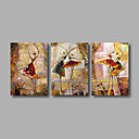 cheap Landscape Paintings-Oil Painting Hand Painted - Abstract Modern Stretched Canvas / Three Panels