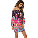 cheap Bakeware-Women's Plus Size Beach Boho Shift Dress - Graphic Print Mini Off Shoulder
