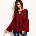 cheap Bracelets-Women's Street chic Blouse - Solid Colored / Spring / Fall / Flare Sleeve