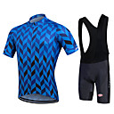cheap Running Shirts, Pants & Shorts-Fastcute Men's Short Sleeve Cycling Jersey with Bib Shorts - Black Plus Size Bike Bib Shorts / Jersey / Bib Tights, Breathable, 3D Pad, Quick Dry, Sweat-wicking Polyester, Lycra Herringbone