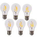 cheap Wall Sconces-6pcs 4W 400lm E26 / E27 LED Filament Bulbs A60(A19) 4 LED Beads COB Waterproof Decorative Warm White Cold White 220-240V