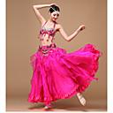 hesapli Göbek Dansı Giysileri-Göbek Dansı Kıyafetler Kadın's Performans Polyester / Şifon / Organze Boncuklama / Payet / Drape Kolsuz Düşük Etek / Sütyen / Kemer