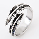 cheap Men's Rings-Men's Band Ring - Feather Personalized, Vintage, European 8 Silver For Daily Casual