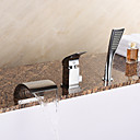 cheap Bathtub Faucets-Bathtub Faucet - Contemporary Chrome Roman Tub Ceramic Valve Bath Shower Mixer Taps / Brass / Single Handle Three Holes