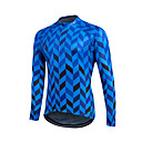 cheap Cycling Gloves-Fastcute Men's Women's Unisex Long Sleeve Cycling Jersey - Red Blue Herringbone Bike Sweatshirt Jersey Top, Thermal / Warm Quick Dry Front Zipper, Winter, Polyester Coolmax® 100% Polyester / Velvet